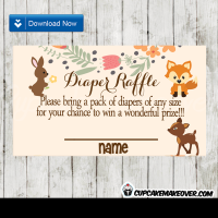 woodland forest animals diaper raffle tickets