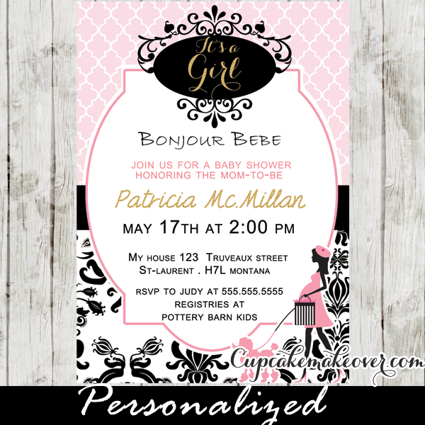paris baby shower invitation poodle chic parisian lady