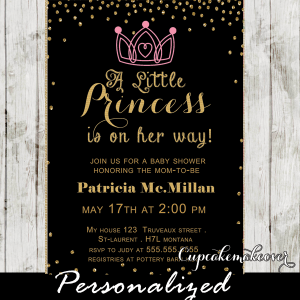 chalkboard gold glitter princess baby shower invitations