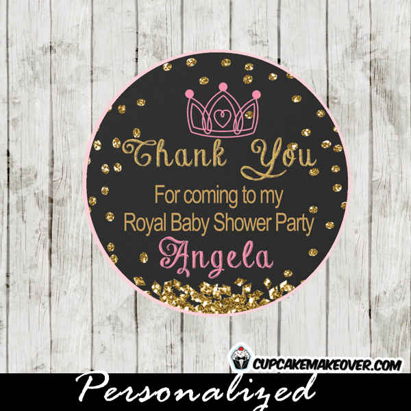 gold glitter chalkboard princess theme favor tags
