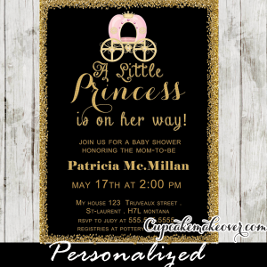chalkboard gold glitter princess theme baby shower invitations