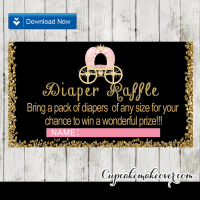 chalkboard gold glitter royal carriage princess diaper raffle tickets