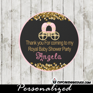 chalkboard gold glitter pink carriage royal princess favor tags