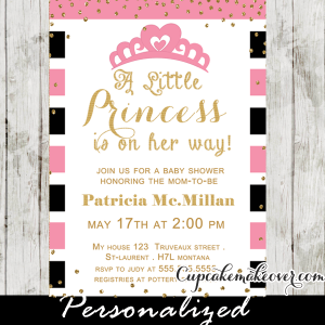 pink stripes gold confetti princess crown baby shower invitations