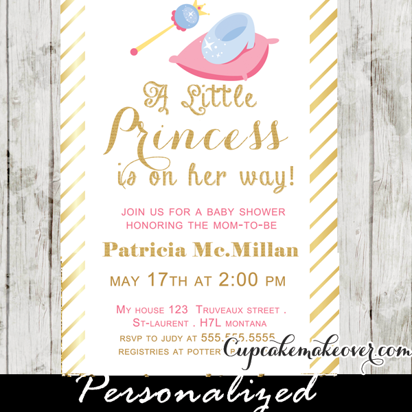 faux gold foil stripes princess theme baby shower invitation