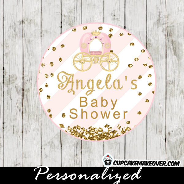 soft pink stripes gold glitter royal princess favor tags