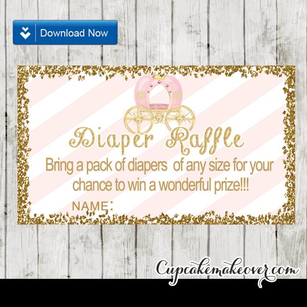 soft pink stripes gold glitter princess diaper raffle tickets