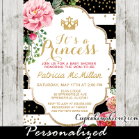 shabby chic gold confetti black white stripes princess crown baby shower invitations