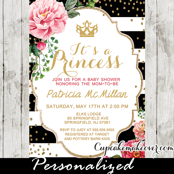 Black white stripes shabby chic floral princess baby shower black white stripes shabby chic floral princess baby shower invitation personalized filmwisefo