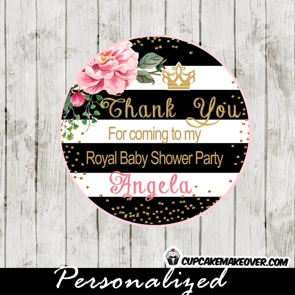 black white stripes shabby chic floral princess cupcake toppers