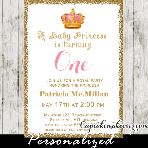 gold glitter baby princess first birthday invitation personalized
