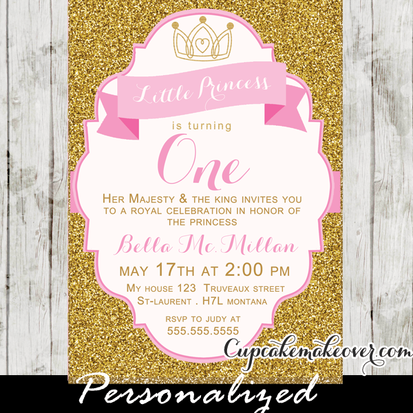 gold glitter pink first birthday princess invitation girl