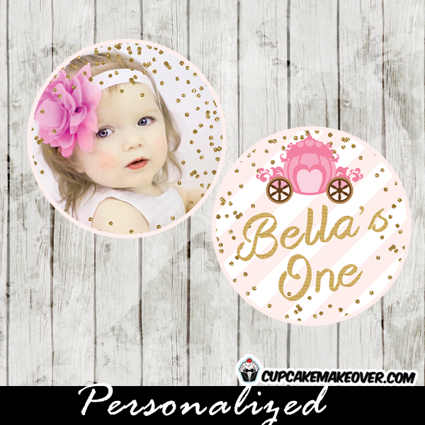 gold glitter little princess birthday toppers tags