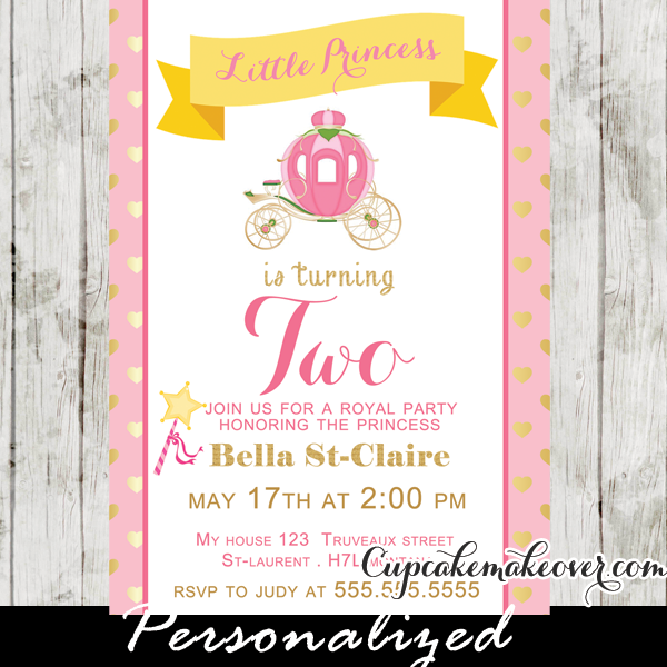 pink gold little girl princess birthday invitation
