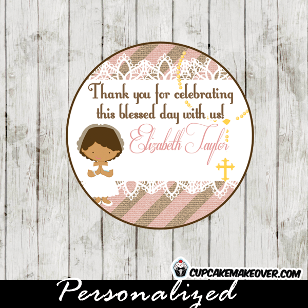 stripes burlap lace first communion toppers personalized