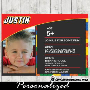 printable lego party invitation photo invite boys