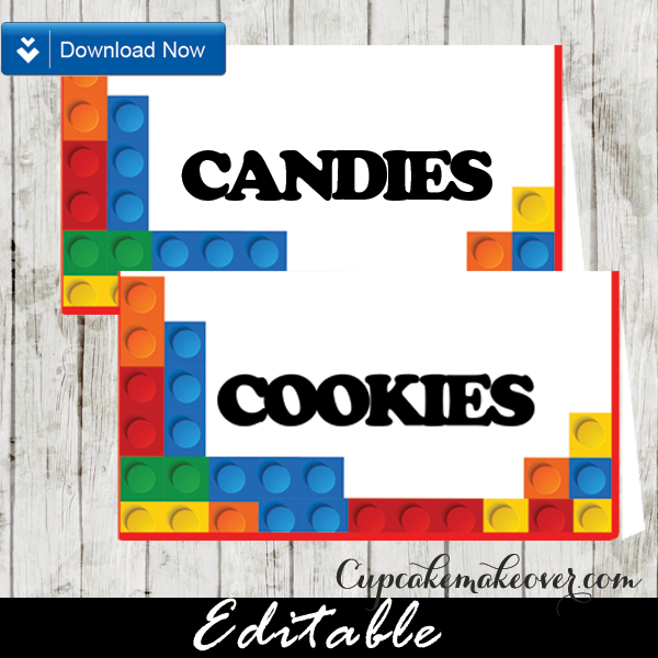 Lego Birthday Buffet Food Labels Dessert Table Signs