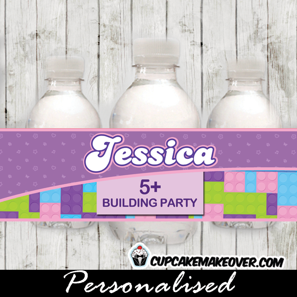 printable lego friends water bottle labels birthday decoration