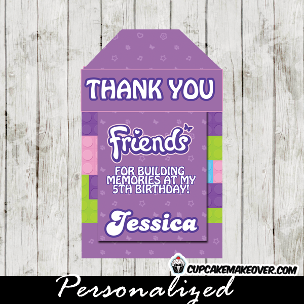 personalized lego friends favor tags party gift labels