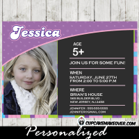printable lego friends photo birthday invitation