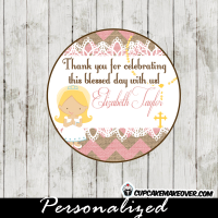 pink burlap lace first holy communion toppers
