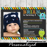 printable first birthday little monsters photo invitation