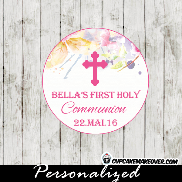 Watercolor Floral First Communion Favor Tags Personalized