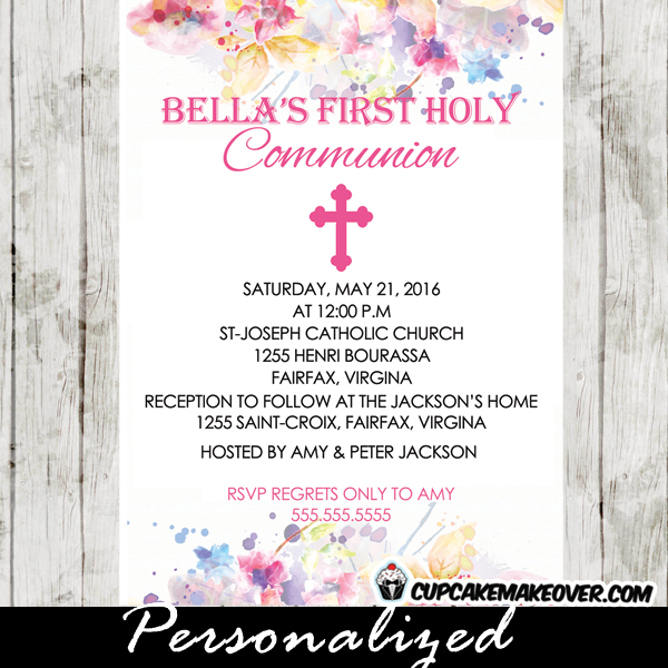 Pink rose stripes first communion invitation personalized d12 watercolor floral first communion invitation personalized d8 solutioingenieria Choice Image