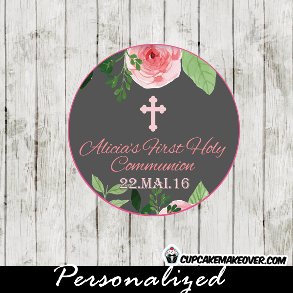 personalized pink roses watercolor first holy communion favor tags