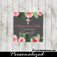 personalized pink roses watercolor first holy communion labels
