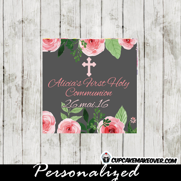 Pink roses blossom first communion invitation personalized d11 personalized pink roses watercolor first holy communion labels solutioingenieria Choice Image