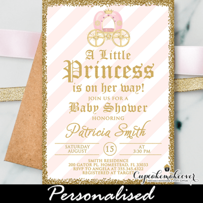 pink stripes gold glitter princess theme baby shower invitations