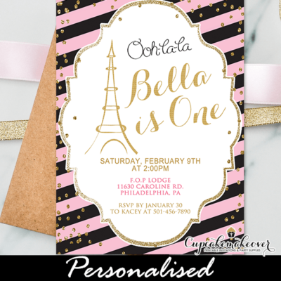pink gold confetti paris themed birthday invitations girls