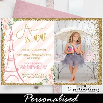 soft pink stripes gold paris party photo invitation printable