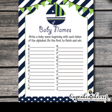 green blue nautical baby shower games