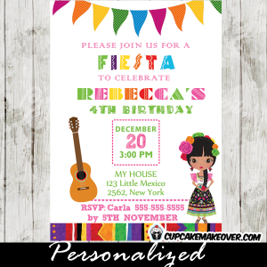 fiesta theme birthday invitation for girls