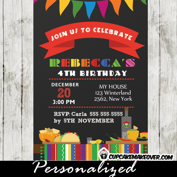 printable fiesta birthday invitations girls
