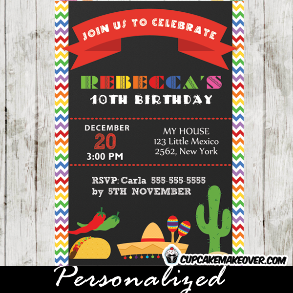 fiesta theme party invitations birthday