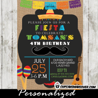 papel picado mustache fiesta birthday invitations