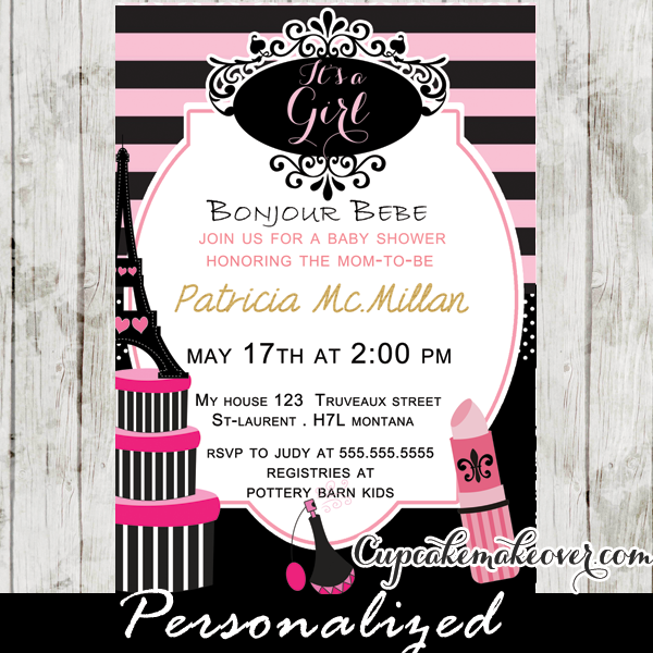 Paris Diva Baby Shower Invitation Personalized Cupcakemakeover