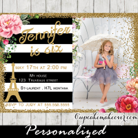 black white stripes gold glitter parisian themed birthday invitation
