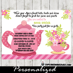 high tea party invitation for girls pink floral