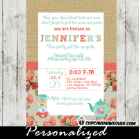 shabby chic burlap coral tea party invitations for girls