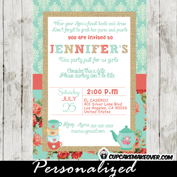 damask shabby chic turquoise tea party invitation for girls