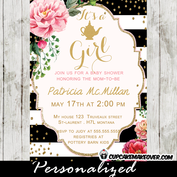Stripes Floral Golden Teapot Baby Shower Invitation Personalized – Baby Shower Party Invitations