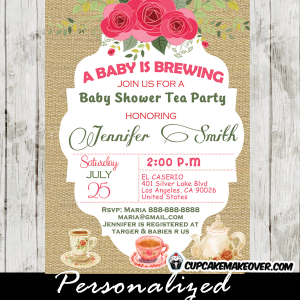 236 shabby chic burlap baby shower tea party invitations