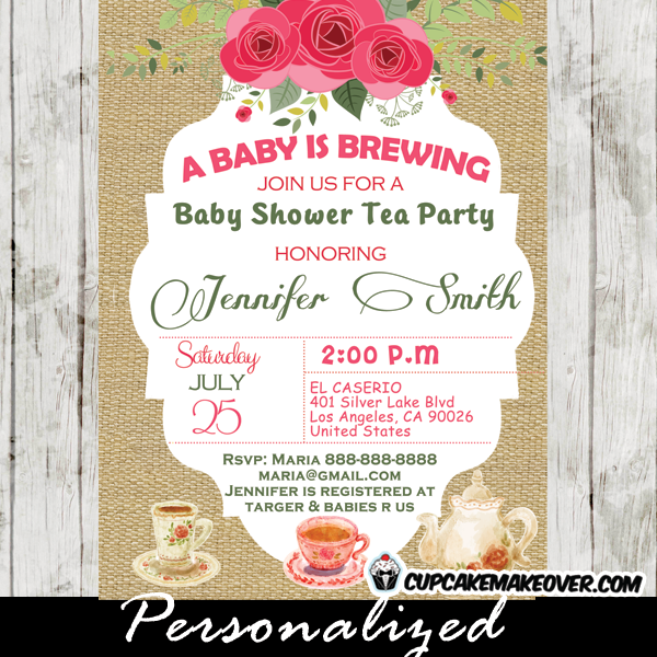 shabby chic burlap tea party baby shower invitations