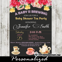 floral vintage tea party baby shower invitations