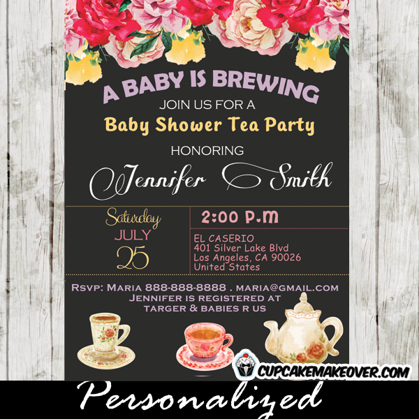 236 vintage floral baby shower tea party invitations
