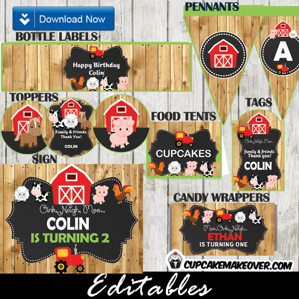 red tractor farm theme party supplies barnwood